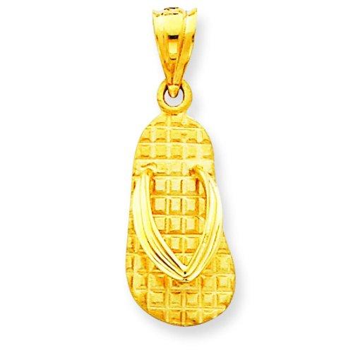 14K Yellow Gold Sandal Charm Flip Flop Shoe Pendant