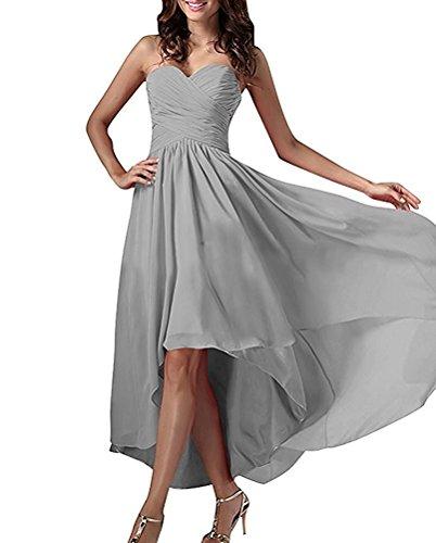 Brautjungfernkleider Abendkleider Partykleider Silber Traegerlos Marie Lila Chiffon Braut Linie Dunkel A Lo Hi La WH4wq6ZY4