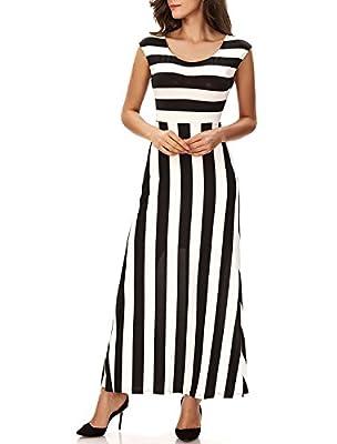Striped Maxi Dress Lasvane Women Summer Black White Empire Casual Long Dress