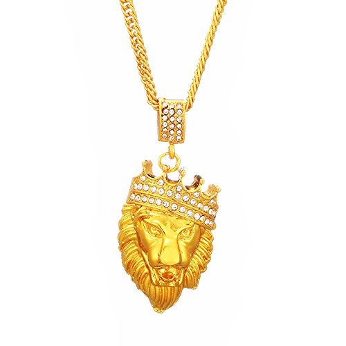 TKHNE 18k gold diamond-studded crown lion head hip hop necklace pendant personalized necklace pendant luxury shops ()