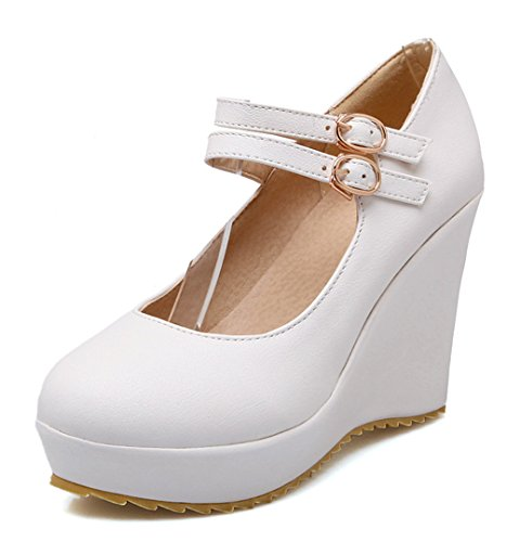 YE Damen High Heels Plateau Runde Spitze Geschlossen Riemchen Pumps mit Keilabsatz und Schnallen 10cm Absatz Schuhe Weiß