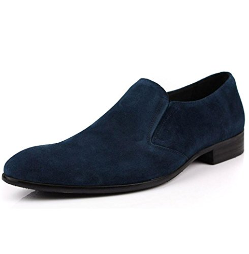Heart&M cuero genuino ocasionales de los hombres señaló toe zapatos de cuero de gamuza Blue