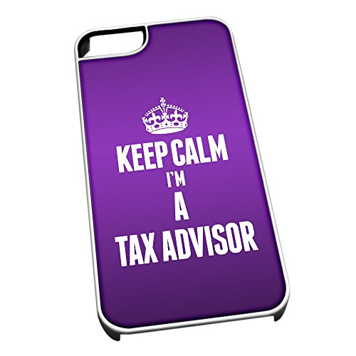 Bianco Cover per iPhone 5/5S 2690 Viola con scritta Keep Calm I m a Tax Consigliere