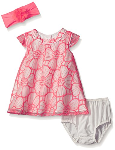 The Children's Place Baby Flower Embroidered Dress, Neon Soft Pink, 0-3 Months - Child Embroidered Dress