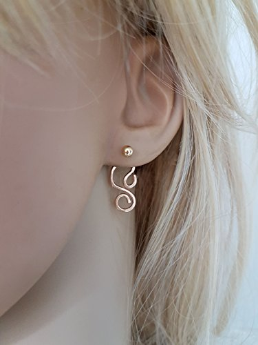 (Asymetric Gold Filled Hammered Spiral Ear Jacket Earrings, Pair)