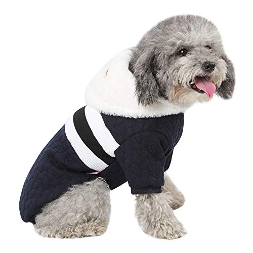 Chartsea Puppy Pet Dog Cat Clothes Winter Warm Sweater Coat Costume Apparel Clothes Festival Dress Sweater Knitwear (Navy, M)