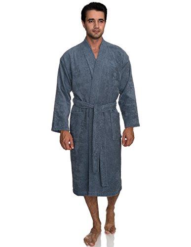 TowelSelections Men's Robe, Turkish Cotton Terry Kimono Bathrobe X-Large/XX-Large Flint Stone