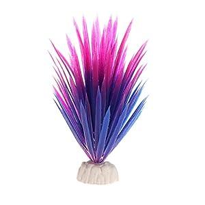 LANDUM Artificial Plastic Plant Narcissus Water Grass Fish Tank Aquarium Decor Ornament Purple 14 cm 25