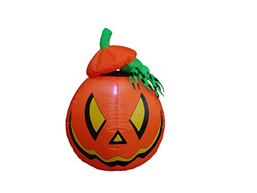 4 Foot Halloween Inflatable Lighted Pumpkin Jack-o-lanterns with Spider Yard Art Decoration (Cute Halloween Yard Decoration Ideas)