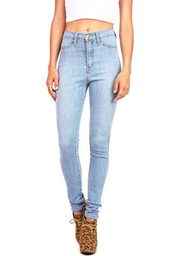 Vibrant Women's Juniors Vintage High Waist Denim Skinny Jeans 15 Light Blue (Light Denim Wash)