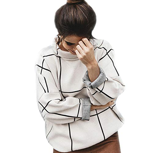 Chicwish Women's Comfy Casual Long Sleeve Cream Grid Turtleneck Knit Top Pullover Sweater