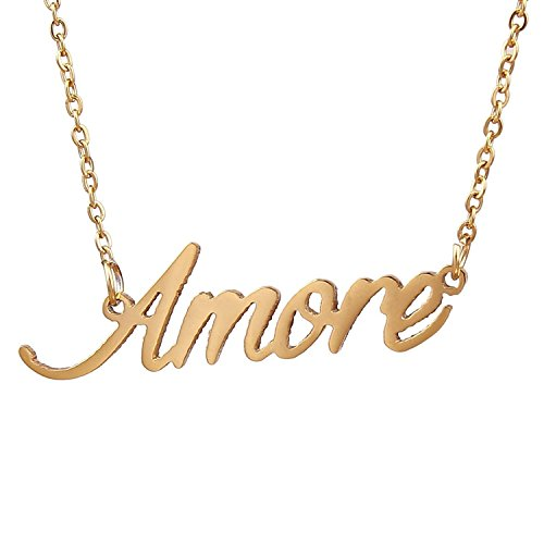 HUAN XUN Gold Color Plated Handmade Name Pendant Necklace, A