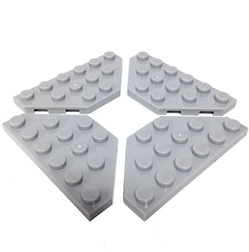 Lego-Parts-Wedge-Plate-3-x-6-Cut-Corners-PACK-of-4-LBGray