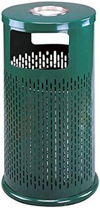 屋外ステンレスゴミ箱はゴミ箱、屋外のパンチ、アッシュバケット、ブラックグリーン (Color : Green)