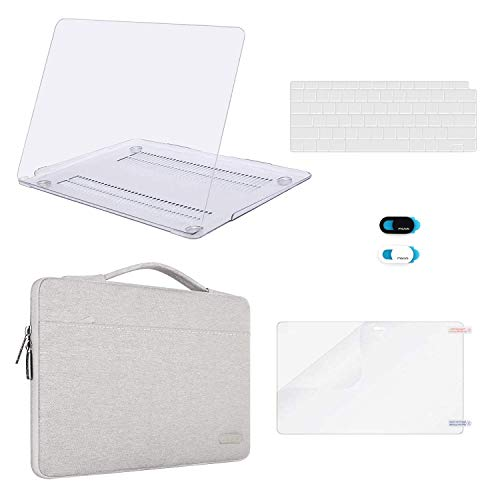 MOSISO MacBook Air 13 inch Case 2019 2018 Release A1932 Retina Display, Plastic Hard Shell & Sleeve Bag & Keyboard Cover & Webcam Cover & Screen Protector Compatible with MacBook Air 13, Clear&Gray