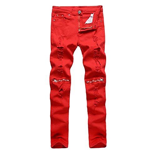 Alamor Herren Punk Stil Ripped Jeans Skinny Bleistift Hose Knie Hose 4 Farben-Rot-30