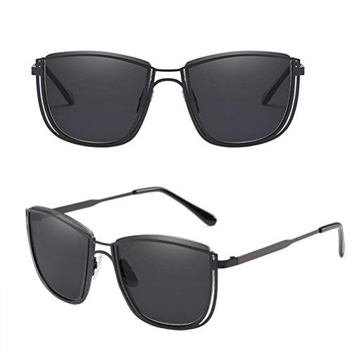Zhhlaixing Sunglasses Métal de Hommes Qualité et étui en de Lunettes Avec Black Soleil Design Femmes Retro à Lunettes Matériel HwqAORXrH