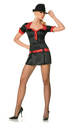 Mafia Lady Costume (Adult Lady Gangsta Costume - Gangster Mafia Mob Boss (Large))