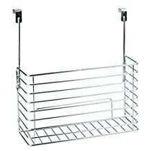InterDesign Classico Over the Cabinet Kitchen Bakeware Organizer Basket for Cutting Boards, Baking Sheets/Pans - Chrome