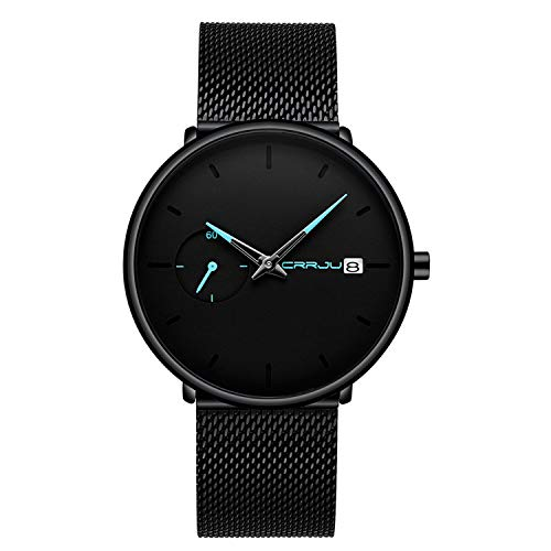 Men's Fashion Ultra-Thin Wrist Watch Analog Quartz Date Blue Pointer with Black Milanese Mesh Band Casual Watches