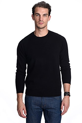 Sweater Cable Cashmere (State Cashmere Men's 100% Pure Cashmere Long Sleeve Pullover Crew Neck Sweater (Large, Black))