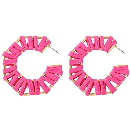 Earrings for Girls,Mebamook Geometric Polygon Handmade Rice Beads Acetate Plate Earrings Ladies Jewelry Gift ()