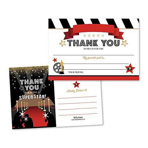 25 VIP Movie Night Fill In The Blank Thank You Cards, Star Glitter Ticket Party Themed Bday Party Notes, Hollywood Rockstar Adult or Children Birthday, Oscar Themed Supplies Lanyard Red Carpet Ideas -