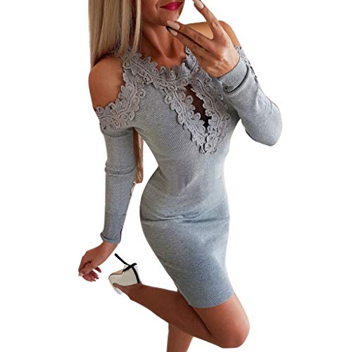 (iYBUIA Sexy Bodycon Dress for Women Party Club Lace Hollow Out Cold Shoulder Mini Dress Gray)