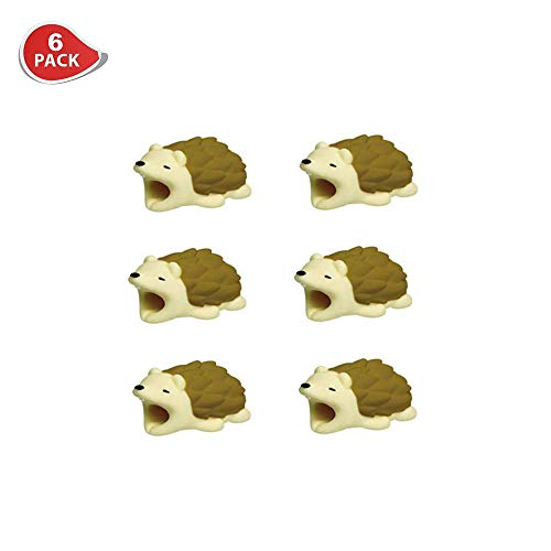 (ETCBUYS Cable Protector Cute Animal Bites, Cords Protection, Charging Cable Buddies for iPhone iPad, Best Gift Idea (6 Pack) (Hedgehog))