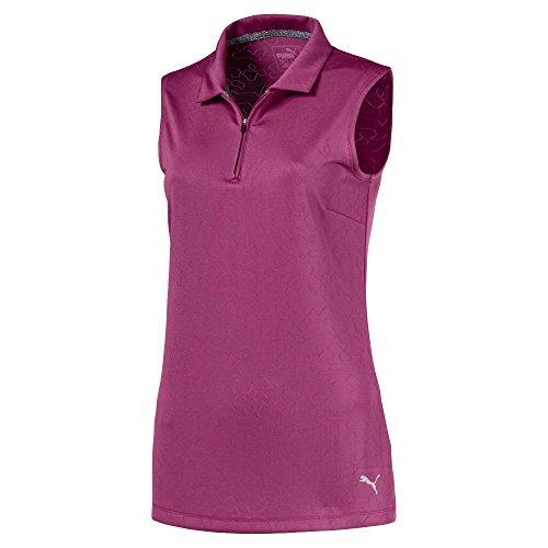 (PUMA Golf Women's 2018 Jacquard Sleeveless Polo, Medium, Magenta Haze)