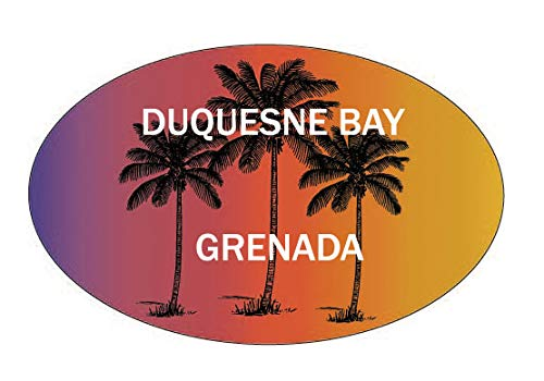 R and R Imports Duquesne Bay Grenada Souvenir Palm Trees Surfing Trendy Oval Decal Sticker (Imports Grenada)