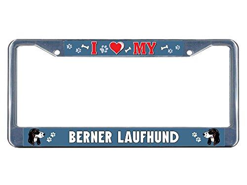 Price comparison product image Berner Laufhund Dog I heart Chrome Metal License Plate Frame Tag Border