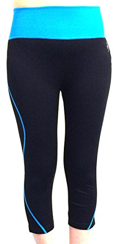 Diamante Collection Just Tight Fit Capri Legging Blue ()