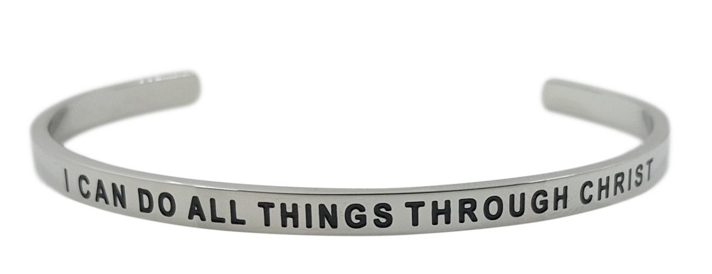 ''I Can Do All Things Through Christ Philippians 4:13'' Christian Bible Verse Religious Positive Message Cuff Bangle Bracelet, Inspirational Quote Jewelry Gifts for Women & Teen Girls