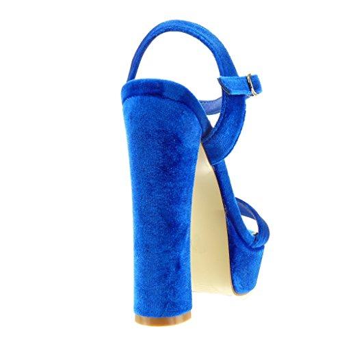 Angkorly Zapatillas Moda Sandalias Tacón escarpín Plataforma Mujer Tanga Talón Tacón Ancho Alto 15 cm Azul marino