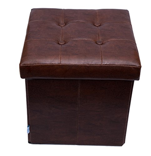 Fsobellaleo Faux Leather Folding Storage Ottoman Footrest Table Brown (Bella Leather Chair)
