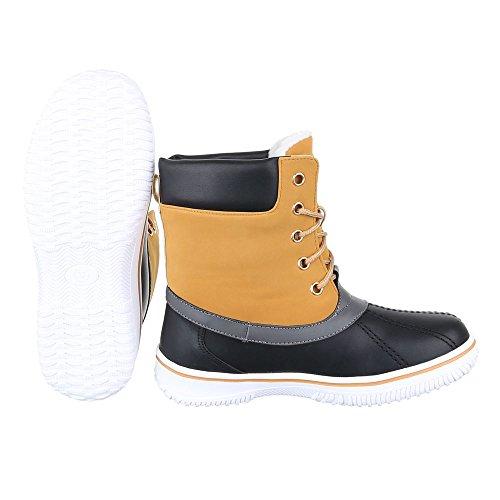 Ital-Design Schnürboots Damen Schuhe Combat Boots Warm Gefütterte Schnürsenkel Stiefeletten Camel