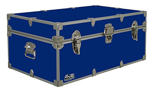 C&N Footlockers Happy Camper Storage Trunk - Summer Camp Chest - Durable with Lid Stay - 32 x 18 x 13.5 Inches (Royal Blue) ()