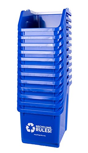 Blue Stackable Recycling Bin Container with Handle 6 Gallon