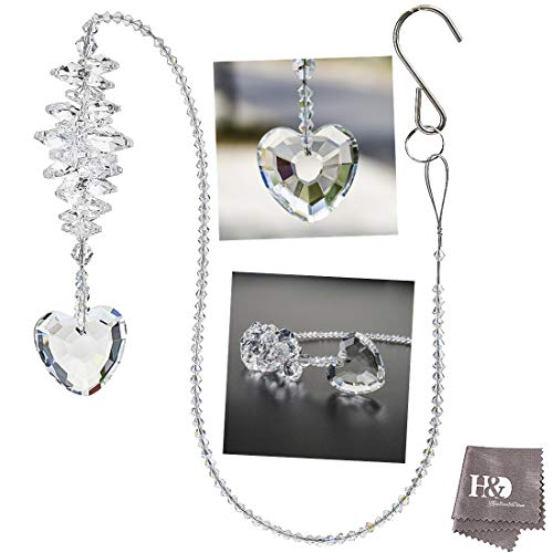 - H&D Clear Heart Shape Crystal Suncatcher for Window,Fengshui Pendant Rainbow Maker Chandelier Ball Prism Parts,24inch Long