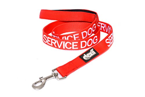 Dexil Limited Service Dog Red 4ft 6ft Padded Dog Leash Prevents Accidents by Warning Others of Your Dog in Advance (4ft)