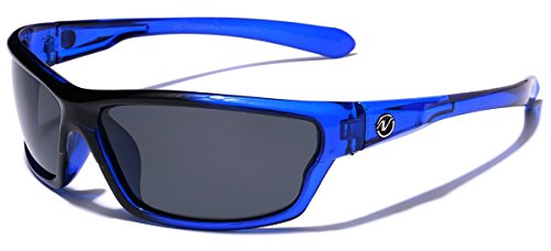 Polarized Wrap Around Sport Sunglasses - Blue