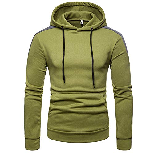 (iYYVV Mens Hoodies Pullover Patchwork Blockcolor Long Sleeve Sweatshirt Top Blouse Army Green)