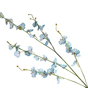 MaxFox Simulation Orchid Phalaenopsis Flowers Artificial Long Stems Branches Make Bouquets in Vase For Home Decor (Blue) 101