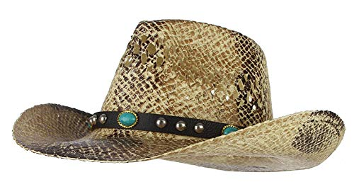 La Vogue Straw Cowboy Hat Bend Brim Fedora Hat Faux Turquoise Belt