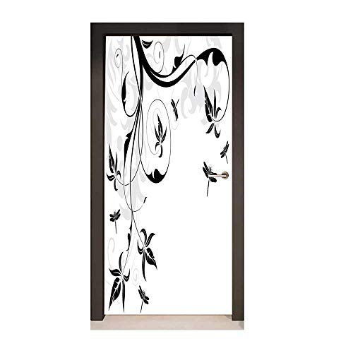 - Dragonfly Door Wallpaper Swirled Floral Background with Damask Curl Branches and Leaves Print Creative Self-Adhesive Decoration Light Grey Black White,W23xH70