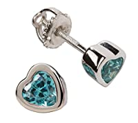 Girls' Sterling Silver CZ Simulated Birthstone Heart Earrings with Screw Back (6mm)