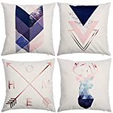 Heyhousenny Decorative Throw Pillow Covers Geometric Cushion Covers Square Outdoor Pillowcase for Sofa Home Set of 4 (Deer, Arrow, Geometry)
