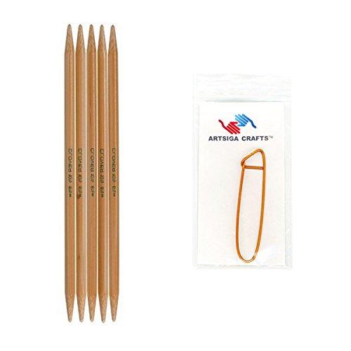 Clover Takumi Bamboo Double Point Knitting Needles 7 inch 5/Pkg Size 6/4mm Bundle with 1 Artsiga Crafts Stitch Holder 3015-06 - Aluminum Double Knitting Point Needles