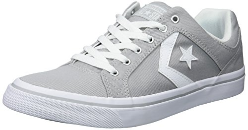 Converse Men's EL Distrito Twill Low Top Sneaker, Ash Grey/White/White, 11 M US